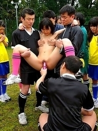 Japanese soccer girl gets two guys