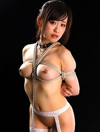 Yui Kyouno gets her bulging tits tied and up and her mouth fed more cock than she can handle.