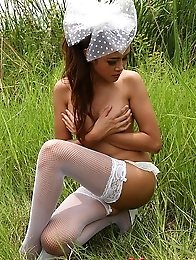 Asian Hannah Lee Naked in Field