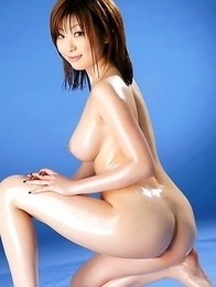 Rio Hamasaki with big nude assets sits with ass up in air